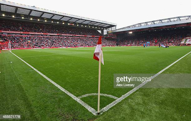 A general view of Anfield is seen prior to the Barclays Premier League match between Liverpool and Aston Villa at Anfield on September 13 2014 in...