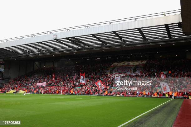 A general view of Anfield showing the kop on the first day of the new premiership season during the Barclays Premier League match between Liverpool...