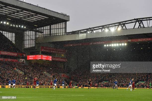 General view of Anfield snow bound during the Premier League match between Liverpool and Everton at Anfield on December 10 2017 in Liverpool England