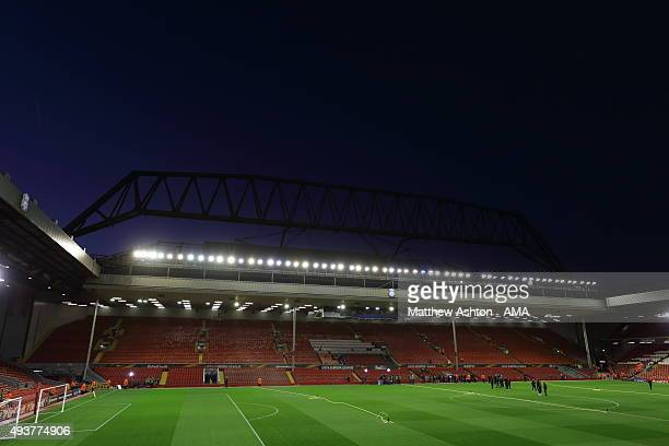 A general view of Anfield Stadium with the new stand being constructed behind the main stand prior to the UEFA Europa League match between Liverpool...