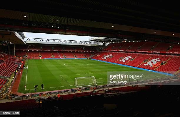 A general view of Anfield taken from the Kop is seen prior to the Barclays Premier League match between Liverpool and Chelsea at Anfield on November...