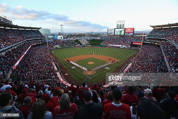 A general view of Angel Stadium of Anaheim is seen prior to the start of the Opening Day game between the Seattle Mariners and the Los Angeles Angels...
