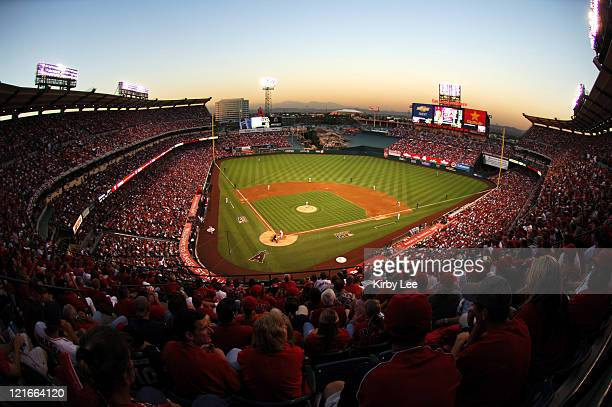 General view of Angel Stadium record crowd of 45142 during MLB Division Series American League playoff game between the Los Angeles Angels of Anaheim...