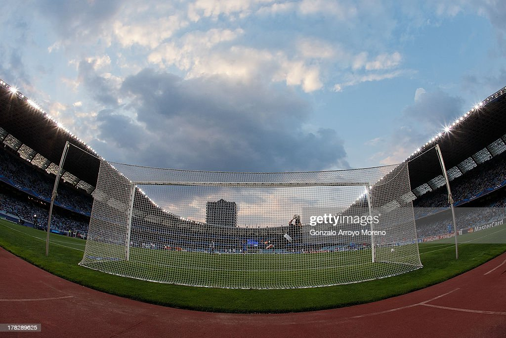 General view of Anoeta stadium during the training up prior to start the UEFA Champions League Play-offs second leg match between Real Sociedad and Olympique Lyonnais at Estadio Anoeta on August 28, 2013 in San Sebastian, Spain.