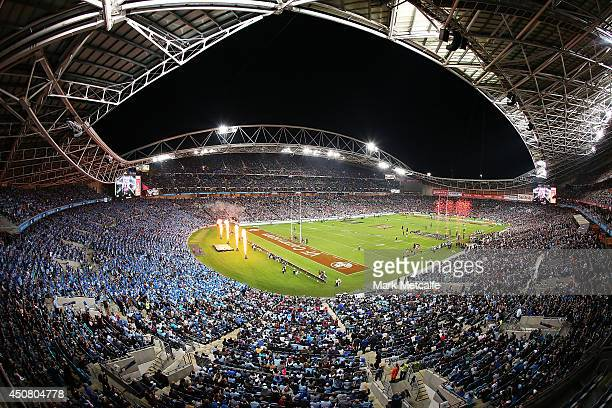 A general view of ANZ stadium as the teams run onto the field during game two of the State of Origin series between the New South Wales Blues and the...