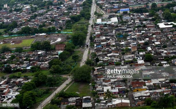 General view of Apartado Antioquia department Colombia on May 31 during the distribution from a helicopter by antinarcotics police of pamphlets...