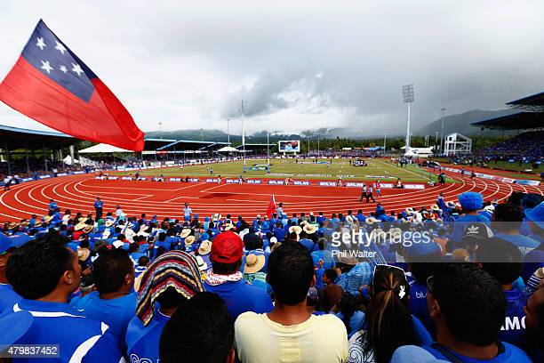 A general view of Apia Park during the International Test match between Samoa and the New Zealand All Blacks at Apia Stadium on July 8 2015 in Apia...