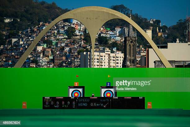 General view of archery arena during the Archery test event for the Rio 2016 Olympic Games at Sapucai Sambodrome on September 20 2015 in Rio de...