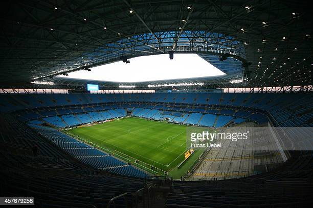 General view of Arena do Gremio before the match Gremio v Figueirense as part of Brasileirao Series A 2014 at Arena do Gremio on October 22 2014 in...