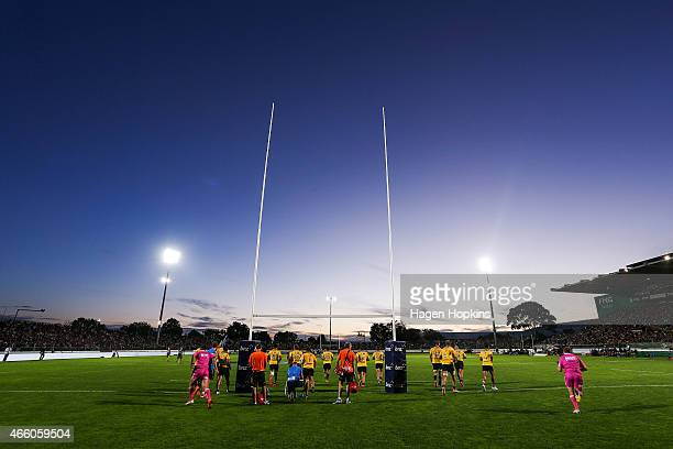 A general view of Arena Manawatu during the round five Super Rugby match between the Hurricanes and the Blues at Arena Manawatu on March 13 2015 in...