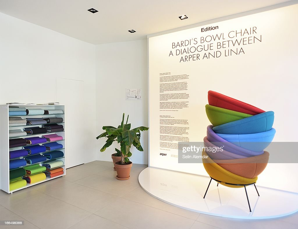 A general view of Arper, Bardi's Bowl Chair at Porta Venezia as part of 2013 Milan Design Week on April 13, 2013 in Milan, Italy.