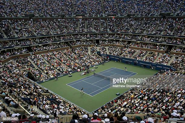 A general view of Arthur Ashe Stadium as Andre Agassi takes on Roger Federer of Switzerland during the men's final of the US Open at the USTA...
