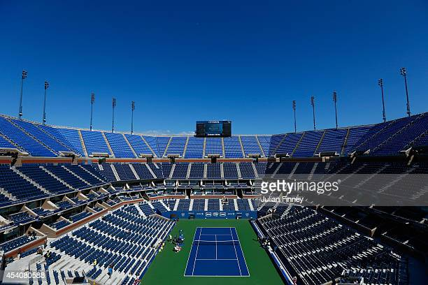 A general view of Arthur Ashe Stadium during previews for the US Open tennis at USTA Billie Jean King National Tennis Center on August 24 2014 in New...