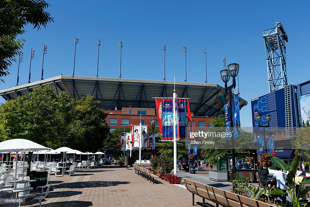 A general view of Arthur Ashe Stadium during previews for the US Open tennis at USTA Billie Jean King National Tennis Center on August 24, 2014 in New York City.