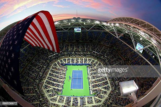 A general view of Arthur Ashe Stadium during the fourth round Men's Singles match between Andy Murray of Great Britain and Grigor Dimitrov of...