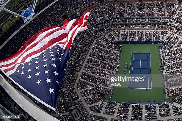 A general view of Arthur Ashe Stadium during the fourth round Women's Singles match between Venus Williams of the United States and Karolina Pliskova...