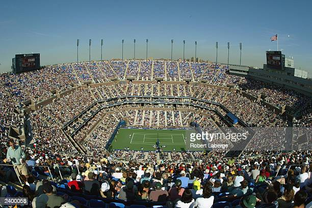 General view of Arthur Ashe Stadium during the semifinals of the US Open at the USTA National Tennis Center on September 7 2002 in Flushing...