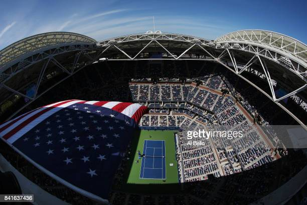 A general view of Arthur Ashe Stadium during the third round match between Kyle Edmund of Great Britain and Denis Shapovalov of Canada on Day Five of...
