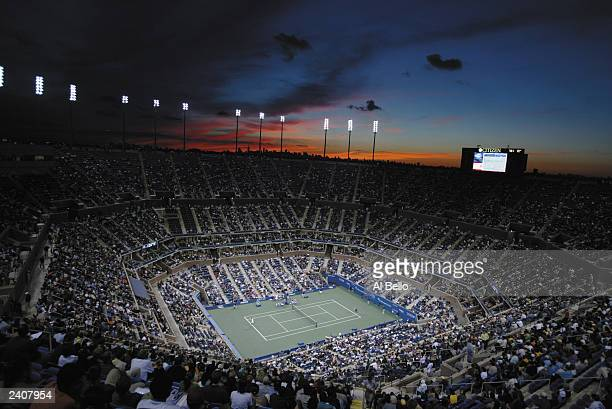 General view of Arthur Ashe Stadium during the US Open August 30 2002 at the USTA National Tennis Center in Flushing Meadows Corona Park in Flushing...