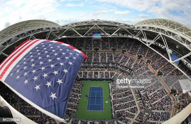 A general view of Arthur Ashe Stadium during the women's singles fourth round match between Maria Sharapova of Russia and Anastasija Sevastova of...