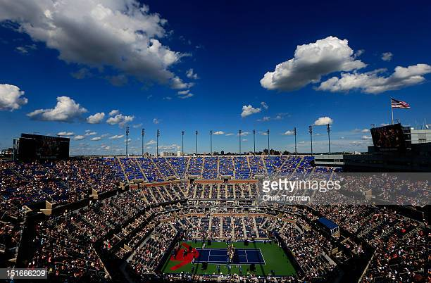A general view of Arthur Ashe Stadium is seen as a ceremony honoring Andre Agassi's induction into the Court of Championships takes place on Day...