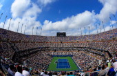 A general view of Arthur Ashe Stadium is seen as Andy Murray of Great Britain competes against Tomas Berdych of Czech Republic during their men's...