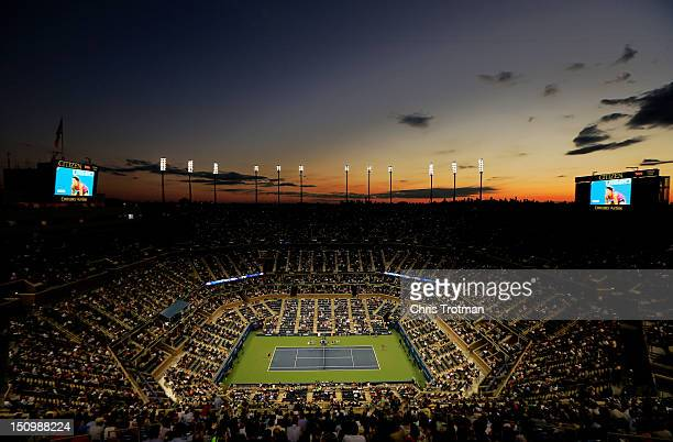 A general view of Arthur Ashe stadium is seen as Maria Sharapova of Russia competes against Lourdes Dominguez Lino of Spain during their women's...