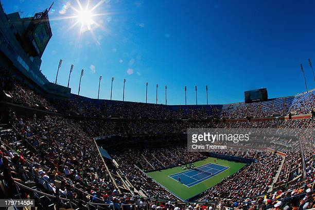 A general view of Arthur Ashe Stadium is seen as Victoria Azarenka of Belarus serves during her women's singles semifinal match against Flavia...