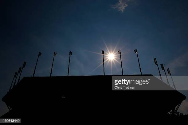 A general view of Arthur Ashe stadium is seen prior to the start of the 2012 US Open at the USTA Billie Jean King National Tennis Center on August 23...