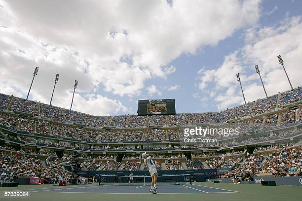 A general view of Arthur Ashe Stadium taken during the US Open at the USTA National Tennis Center in Flushing Meadows Corona Park on September 3 2005...