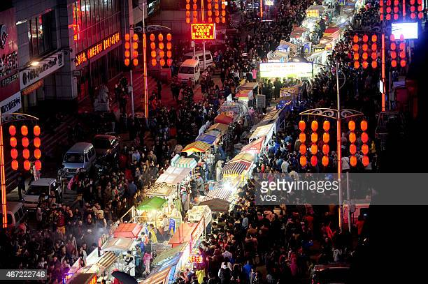 A general view of Asia's largest night market on March 21 2015 in Shenyang Liaoning province of China Asia's largest night market with the total...