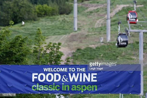 General view of Aspen Mountain and gondolas at the 28th Annual Food Wine Festival on June 17 2010 in Aspen Colorado
