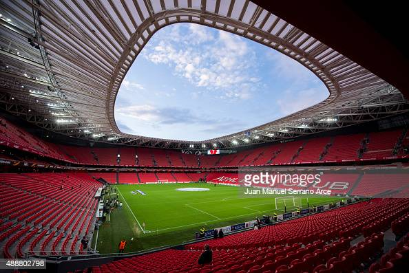 General view of Athletic Club Bilbao San Mames Stadium before the start the UEFA Europa League match between Athletic Club and FC Augsburg at San...