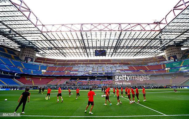 General view of Atletico Madrid players training in San Siro stadium during an Atletico de Madrid training session on the eve of the UEFA Champions...