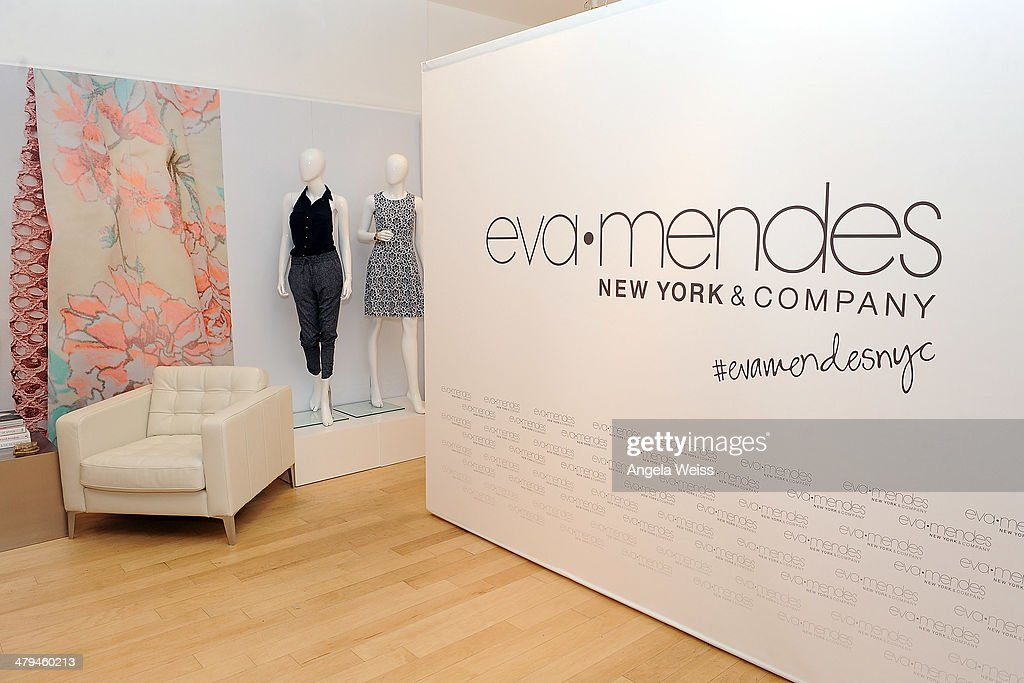 A general view of atmopshere at the Eva Mendes and New York Company launch of their 2014 Spring Collection with a popup shop at The Beverly Center on...
