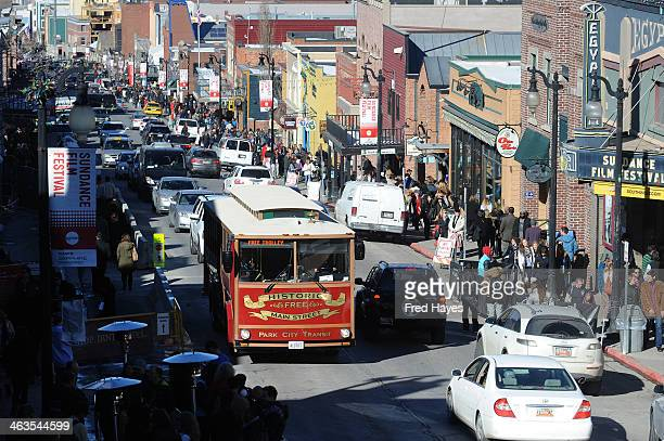 A general view of atmopshere on Main Street of the 2014 Sundance Film Festival on January 18 2014 in Park City Utah