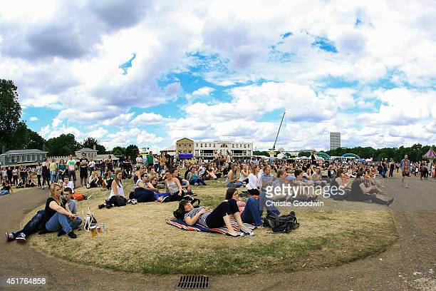 General view of atmosphere and crowd on Day 4 of British Summer Time festival at Hyde Park on July 6 2014 in London United Kingdom