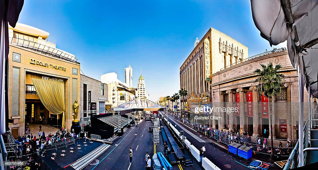 A general view of atmosphere and red carpet installation at the 87th Annual Academy Awards Preparations Continue at Hollywood Highland Center on...