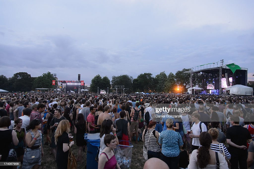 General view of atmosphere as Bjork performs on Day 1 of Pitchfork Music Festival 2013 at Union Park on July 19, 2013 in Chicago, Illinois.