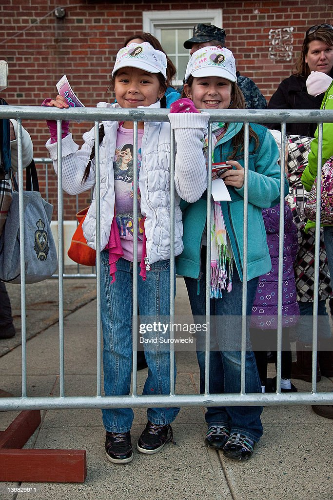 A general view of atmosphere as fans of Nickelodeon's iCarly wait outside the auditorium at the Naval Submarine Base New London on January 11, 2012 in Groton, Connecticut.