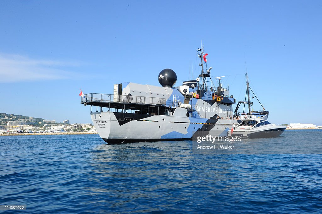 A general view of atmosphere as Michelle Rodriguez, Mohammed Al Turki and Hamza Talhouni visit The Sea Shepard's Steve Irwin Vessel during The 64th Annual Cannes Film Festival on May 20, 2011 in Cannes Harbor, France.