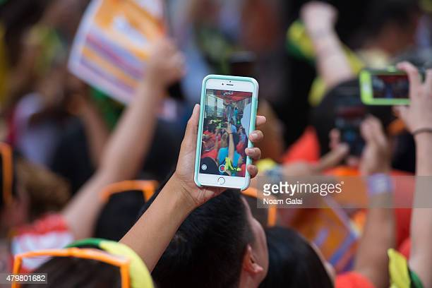 General view of atmosphere as Shaggy performs on NBC's 'Today' at Rockefeller Plaza on July 7 2015 in New York City