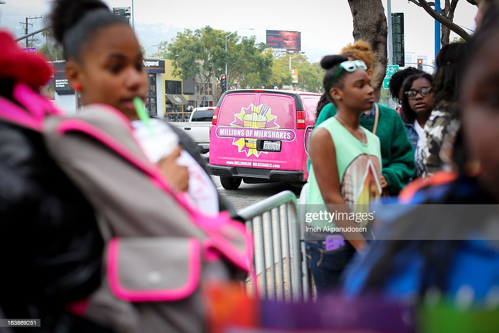 A general view of atmosphere as the music group Mindless Behavior launch their new milkshake at Millions Of Milkshakes on March 16, 2013 in West Hollywood, California.