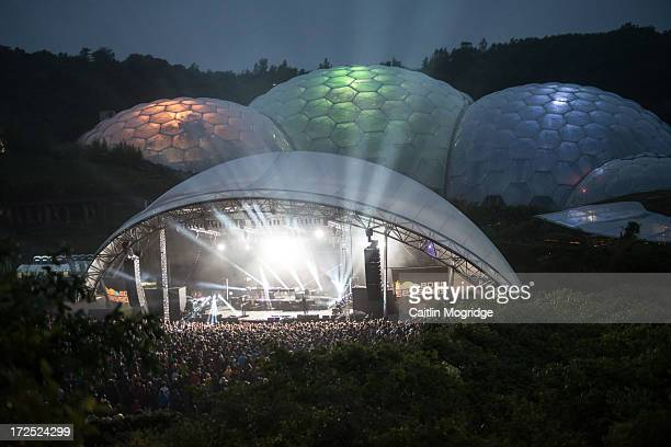 A general view of atmosphere as The XX perform on stage at The Eden Project on July 2 2013 in St Austell England