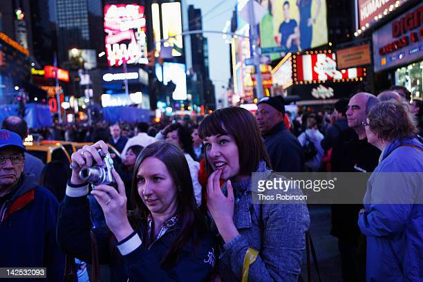General view of atmosphere as Times Square was brought to a standstill on April 6 2012 as Nicki Minaj teamed up with Nokia to perform live for the...
