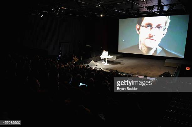General view of atmosphere at Edward Snowden Interviewed by Jane Mayer at the MasterCard stage at SVA Theatre during The New Yorker Festival 2014 on...