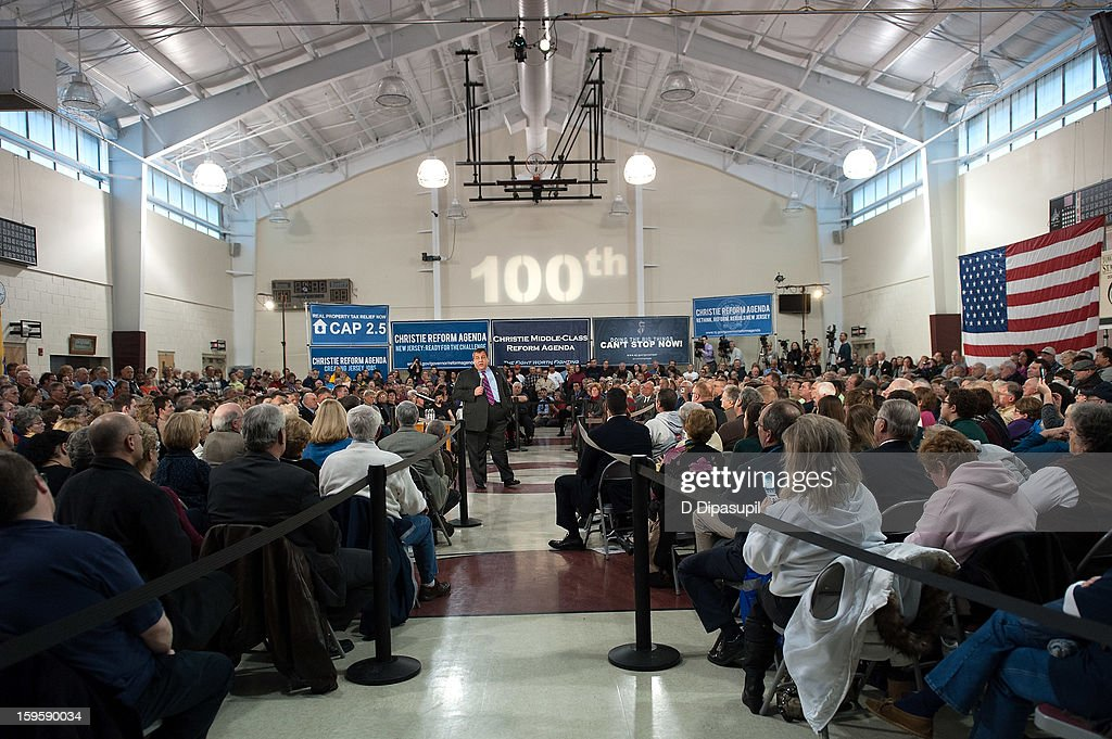 A general view of atmosphere at New Jersey Governor Chris Christie's 100th Town Hall Meeting at St. Mary's Parish Center on January 16, 2013 in Manahawkin, New Jersey.