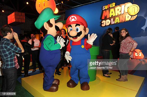 A general view of atmosphere at Nintendo's celebration of the launch of Super Mario 3D Land at Siren Studios on November 3 2011 in Hollywood...