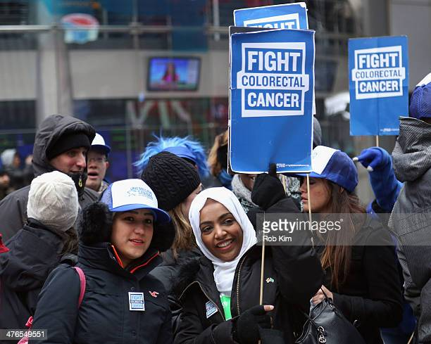 A general view of atmosphere at One Million StrongColorectal Cancer Awareness NASDAQ kickoff at Times Square on March 3 2014 in New York City