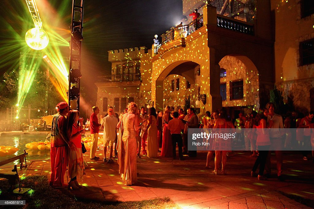 A general view of atmosphere at Sir Ivan's celebration of his new hit single 'Here Comes the Sun' at his castle in the Hamptons on August 23, 2014 in Water Mill, New York.
